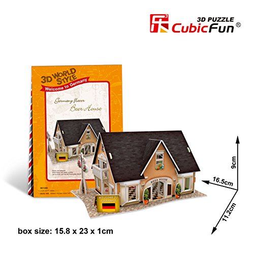 "CUBIC FUN 3D WORLD STYLE GERMANY FLAVOR BEER HOUSE 6.5"" 3D PUZZLE 42PCS"