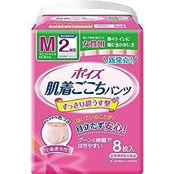 ポイズ 肌着ごこちパンツ 女性用 2回分 吸収量300cc Mサイズ 8枚 【ADL区分:長時間の外出時に尿モレの不安がある方】