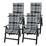 4er Set Hochlehner Stuhlauflage 115x47x4cm Polsterauflage Gartenstuhlauflage