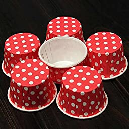 Chunlin 50pcs Paper Cake Cup Cupcake Wrapper Cases Liner Muffin Baking Wedding XMAS Party (Red)