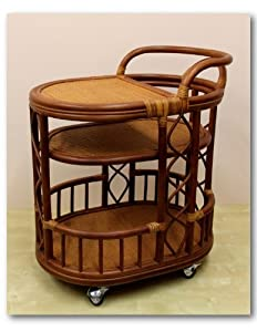 Handmade High Quality Woven Natural Rattan Wicker Serving Cart with Wheels Brown Fully... by Rattan Wicker Furniture