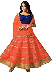 Nilkanth Enterprise Orange Georgette Net Designer Lehenga