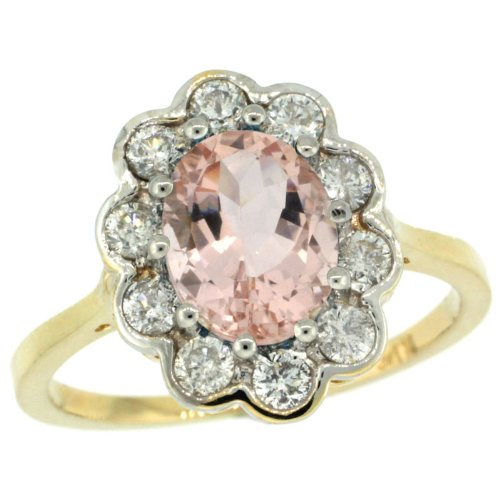 14K Gold ( 9X7 Mm ) Halo Engagement Morganite Ring W/ 0.58 Carat Brilliant Cut ( H-I Color; Vs2-Si1 Clarity ) Diamonds & 1.90 Carats Oval Cut Stone, 5/8 In. (16Mm) Wide, Size 7.5