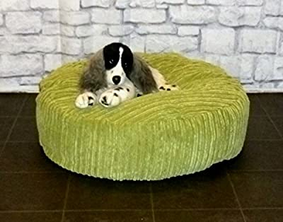 "Zippy Round Bean Bag Pet Dog Bed - 30"" diameter - Green Jumbo Cord Fabric - Beanbags"