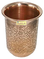 SHIV SHAKTI ARTS Handmade Pure Copper Embossed Glass Tumbler Volume - 200 ml