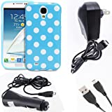Fosmon 4 in 1 Bundle for Samsung Galaxy S4 IV / I9500 - 1x Fosmon DURA Series SLIM-Fit Case Polka Dot Skin Cover (Blue) - 1x Fosmon Micro USB Car / Vehicle Charger - 1x Fosmon Micro USB Home / Travel Charger - 1x Fosmon Micro USB Data Charging Cable