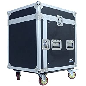 Seismic Audio - SAMRC-10U - 10 Space Rack Case with Slant Mixer Top and Casters - PA/DJ Pro Audio Road Case