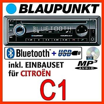 Citroen C1 - BLAUPUNKT Heidelberg 220 BT - CD/MP3/USB Autoradio inkl. Bluetooth - Einbauset
