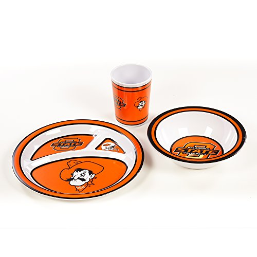 NCAA Oklahoma State Cowboys Kid's 3-Piece Dish Set, One Size, Team Color