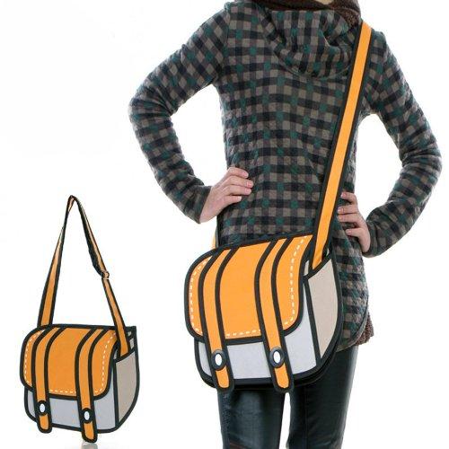 Orange 3D Jump Style 2D Drawing From Cartoon Paper Bag Comic 3D Messenger Bag