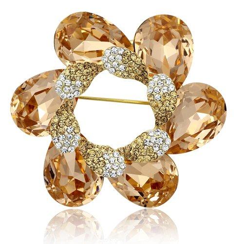 Spinning Flower Swarovski Elements Crystal Brooch