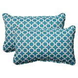 Pillow Perfect Indoor/Outdoor Hockley Corded Rectangular Throw Pillow, Teal, Set of 2