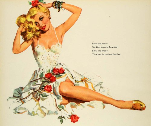 1954 Print Pinup Girl Roses are Red Poem Esquire Model - Original ...