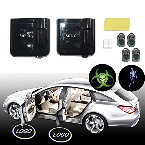 SHE'O® 1 pair Zombie outbreak Biohazard Riadiation Wireless Magnetic car door LED logo projection projector welcome shadow ghost light+2pcs Walking dead Logo slides