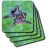 cst_46714_2 Taiche - Acrylic Painting - Fish - Black Moor Goldfish - black moor goldfish telescope goldfish goldfish dragon eye goldfish - Coasters - set of 8 Coasters - Soft