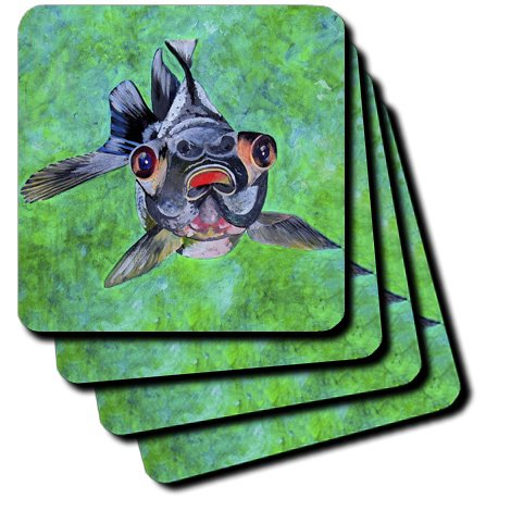 Cst_46714_2 Taiche - Acrylic Painting - Fish - Black Moor Goldfish - Black Moor Goldfish, Telescope Goldfish, Goldfish, Dragon Eye Goldfish - Coasters - Set Of 8 Coasters - Soft