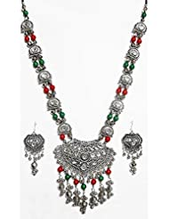 DollsofIndia Metal Necklace With Gorgeous Pendant And Earrings - White Metal - White - B00RHSQ8WC