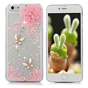 """Iphone 6S & 6 Plus Case - Mavis's Diary 3D Bling Handmade Pink Love Heart Flowing Liquid Flower Butterfly Diamond Clear Hard Cover for Iphone 6S Plus & Iphone 6 Plus (5.5"""") with Dust Plug & Pen by Mavis's Diary"""