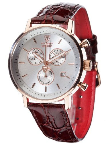 Detomaso Men's Quartz Watch MILANO Chronograph Redgold/Brown DT1052-C with Leather Strap