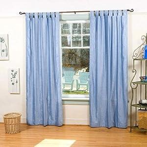Amazon Com Light Blue Tab Top Velvet Curtain Drape