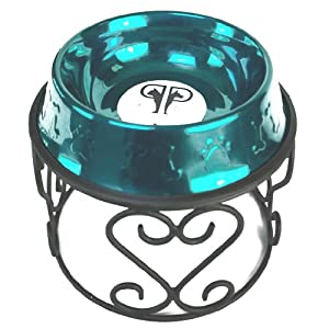 Platinum Pets Scroll Single Diner Stand with 6.25 Cup Embossed Non-Tip Stainless Steel Bowl, Caribbean Teal