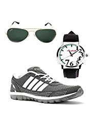 Elligator Stylish Gray & White Sport Shoes & Watch With Elligator Sunglass For Men's