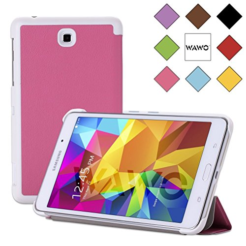 Wawo Creative Tri-Fold Cover Case For Samsung Galaxy Tab 4 7.0 Inch Tablet - Rose Red front-995459