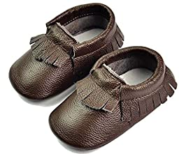 DADAWEN Baby Moccasins Genuine Leather Slip On Shoes Brown M (6-12 Month)