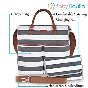 Diaper Bag by Daulia - With Matching Baby Changing Pad - Grey and White Stripe Stylish Cotton Canvas by Daulia
