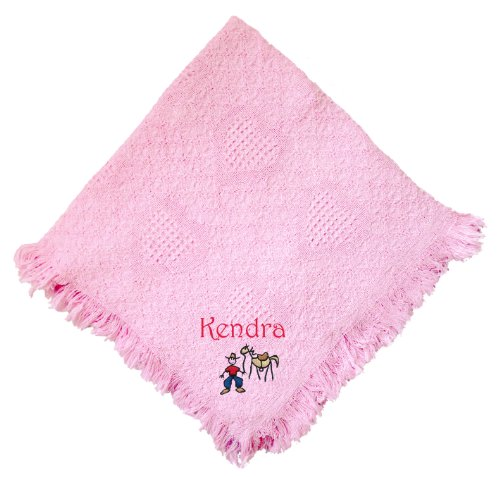 Cowboy Horse Pink 100% Cotton Custom Embroidered Personalized Baby Blanket Green Thread front-1076348