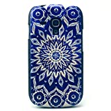 JIAXIUFEN Blue Aztec Tribal Flower Hard Case Back Cover Protector Skin For Samsung Galaxy S3 mini i8190 (not fit Galaxy S3 i9300)