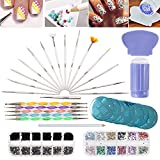 Nail Art Designs Set with 2 Boxes of 1500 Gemstones / Crystals / Gems, Stampers / Scrapers, Stamping Plates, Dotting Tools, Nails Brushes and Rhinestones Decorations Picker Pencil