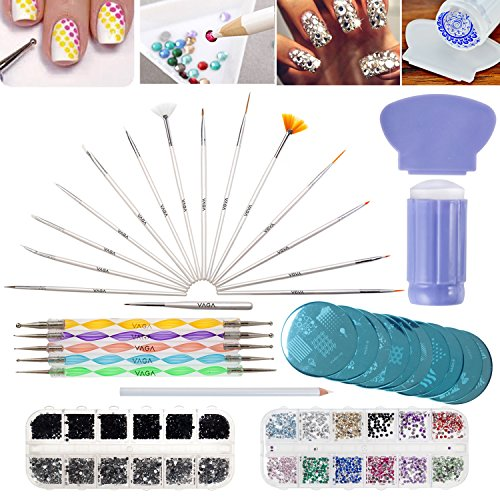 Nail-Art-Designs-Set-with-2-Boxes-of-1500-Gemstones-Crystals-Gems-Stampers-Scrapers-Stamping-Plates-Dotting-Tools-Nails-Brushes-and-Rhinestones-Decorations-Picker-Pencil