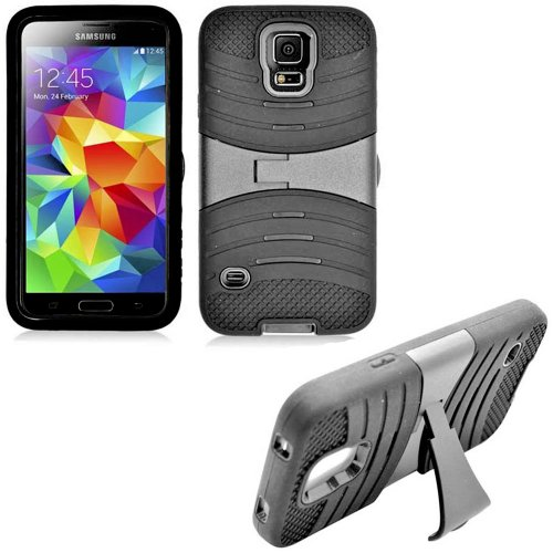 Mylife Black Mist - Shockproof Survivor Series (Built In Kickstand + Easy Grip Ridges) 2 Piece + 2 Layer Case For New Galaxy S5 (5G) Smartphone By Samsung (Internal Flex Silicone Bumper Gel + Internal 2 Piece Rubberized Fitted Armor Protector + Shock Abso