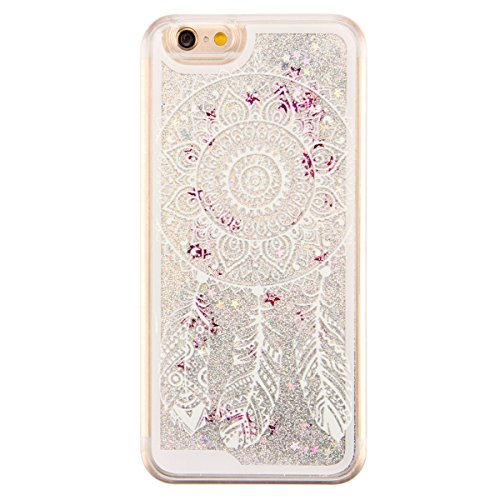 IKASEFU Funny Creative Hard Clear Glitter Flowing Glitter Sparkle Silver Stars Dymamic Liquid Case Cover for iphone SE/5S/5-Dreamcatcher