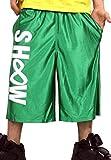 (ショウタイム)ShoowTime バスパン バスケットパンツ 軽量 緑 グリーン XS ジャージ ハーフパンツ メンズ レディース キッズ ジュニア ヒップホップ スポーツ ダンス ウェア 衣装