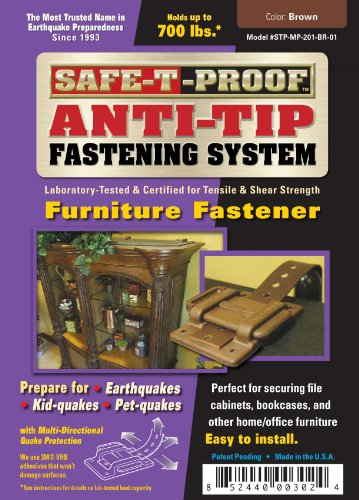 Safe-T-Proof Anti-Tip Fastening System Furniture Fastener, Brown