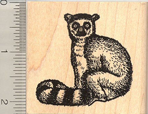 Ring-tailed Lemur Rubber Stamp, Madagascar Wildlife