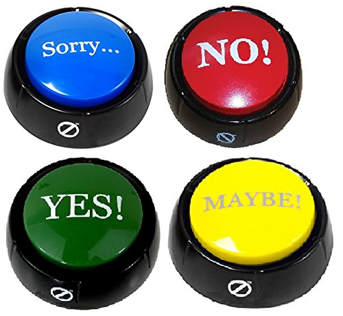 Buy Cheap Set of 4 Talking Buttons - No, Yes, Sorry & Maybe - Novelty Desk Zany Toys