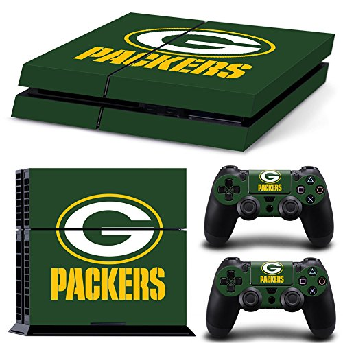 Ps4 Playstation 4 Console Skin Decal Sticker Green Bay Packers NFL + 2 Controller Skins Set