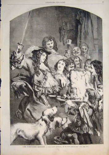 Royal Fantasy George Dogs Party France Old Print 1858