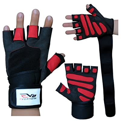 EVO Fitness Leather Weight lifting Gloves Gym Neoprene Wrist Wraps Support Straps Wheelchair Cycling by Evo Fitness