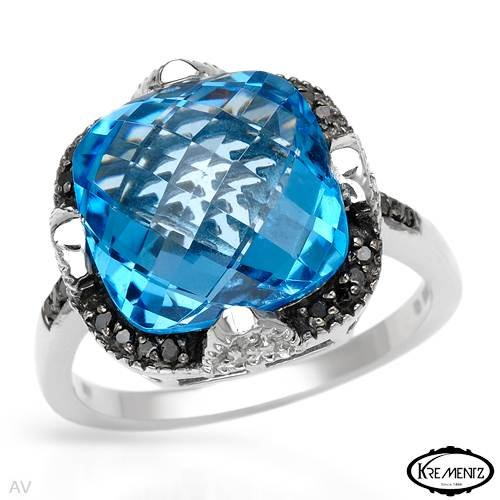 KREMENTZ Attractive Cocktail Ring With 8.30ctw Genuine Diamonds and Topaz Beautifully Designed in 925 Sterling silver. Total item weight 6.3g (Size 8)