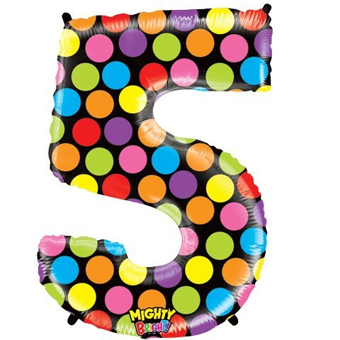 "Number Five Mighty Bright Polka Dot Megaloon 40"" Mylar Foil Balloon"