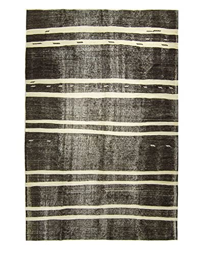 BNomadic C. 1950s Authentic Konya Kilim One-of-a-Kind Rug, Black/Cream, 7′ 7″ x 11′ 3″
