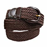Brown Braided Elastic Stretch Belt