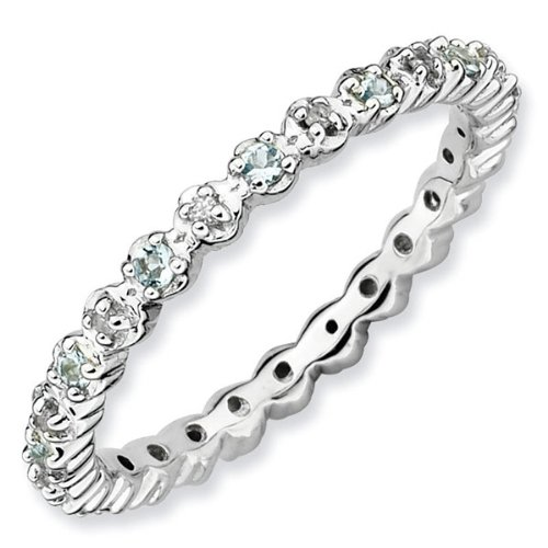 Aquamarine and Diamond Stackable Ring 1/20ctw - Size 7