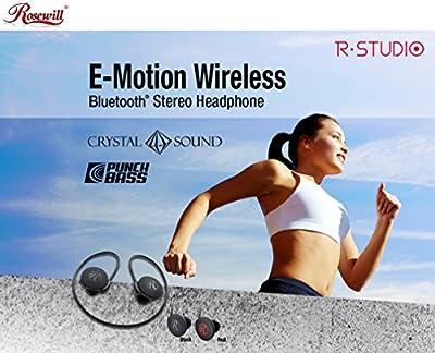 Rosewill E-MotionWireless-BK R-Studio Black Bluetooth Stereo Wrap Around Wear Sport Headphones with Handsfree Mic