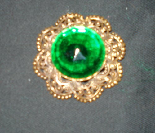 Antique Filigree Emerald Brooch-pin (Western Germany)