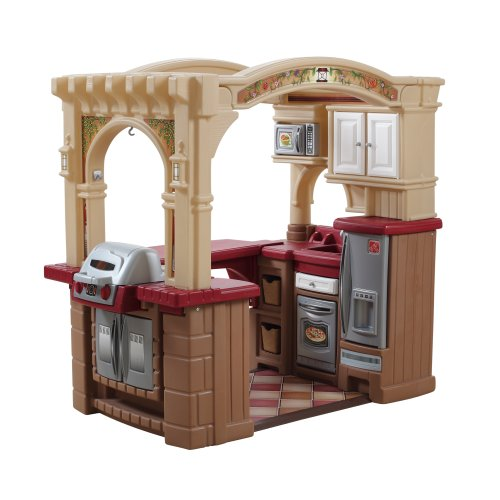 Step2  Grand Walk-in Kitchen and Grill, Brown/Tan/Maroon (Toy Kitchen Grill compare prices)